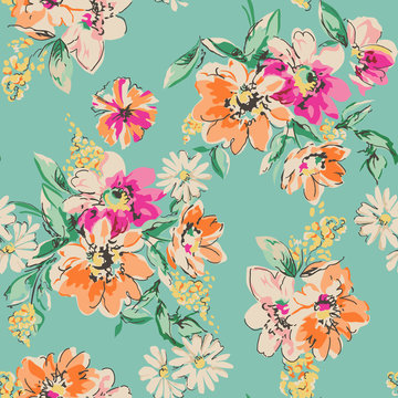 cute hand drawn flower print - seamless background