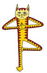 Cat-yogin. Art cat yoga