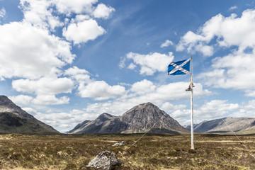 Scottish national flag in the highlands