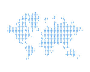 The world map consists of icon social avatar. A concept on social networks. Flat vector illustration EPS 10