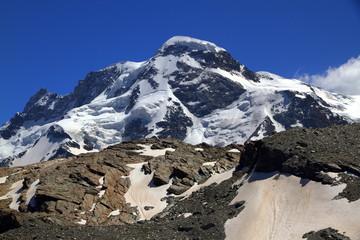 Matterhorn Glacier Paradise route - View of the Alpine mountain peaks and glaciers from Trockener Steg, Switzerland