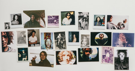 Instant photos of a man over a 40 years period