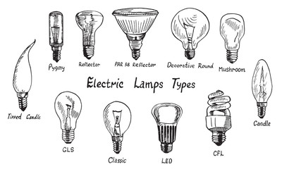 Electric Lamps Types set, woodcut style design, hand drawn doodle, sketch in pop art style, isolated vector illustration