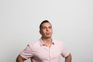 studio portrait of a confident man