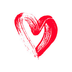 Hand drawn brush stroke painted red heart for different design projects. Isolated vector element