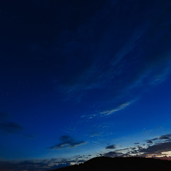 Dark sky with clouds after sunset.