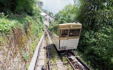 The funicular railway at Montreux in Switzerland