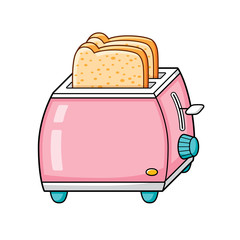 Pink toaster with bread slices isolated.