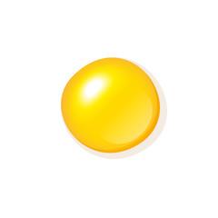 Stylish close up top view realistic vector fried egg yolk minimalistic illustration