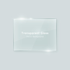 Shiny transparent vector glass horizontal rectangle shape