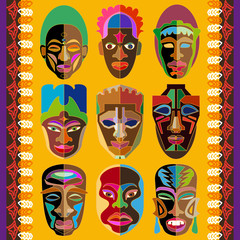 Vector border with African masks inspired by aboriginal art.