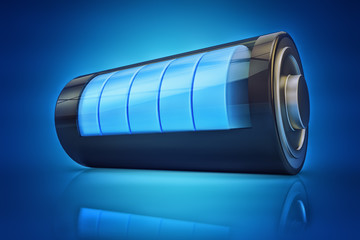 Electrical energy and power supply source concept, accumulator battery with charging level indicator on blue background
