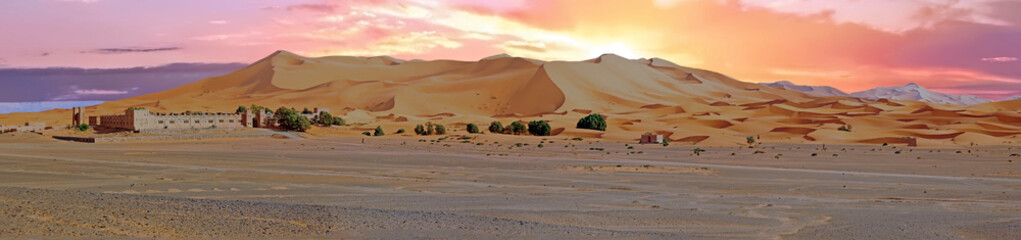 Panorama from the Erg Chebbi desert in Morocco at sunset