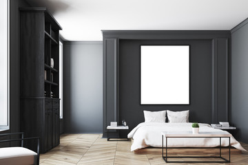 Black bedroom interior, poster