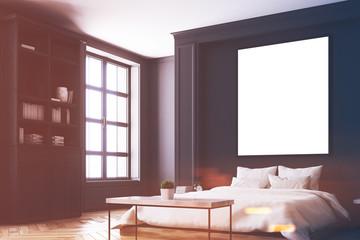 Black bedroom interior, poster corner toned