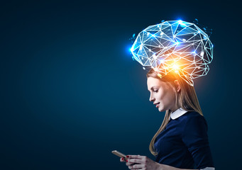Blond woman with phone and brain hologram