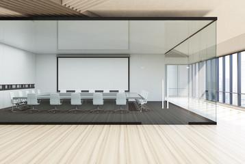 Transparent conference room wooden floor