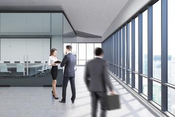 Transparent conference room concrete, side people