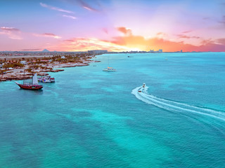 Aerial from Aruba island in the Caribbean Sea at sunset
