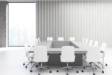 Rectangular meeting room, gray wood