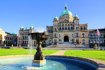 Historic British Columbia provincial parliament building with fountain, Victoria, BC, Canada