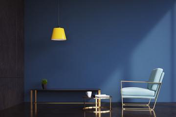 Dark blue living room, armchair