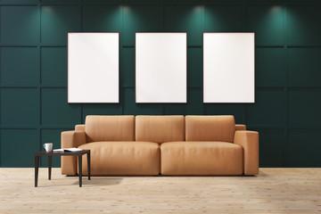 Beige sofa in a green living room