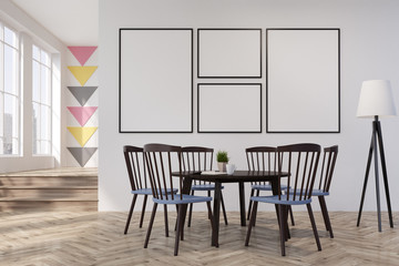 White and triangle dining room or office, round