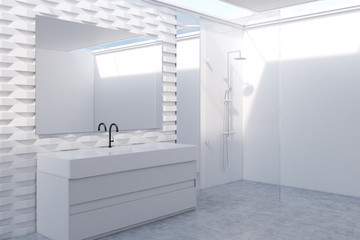 White brick bathroom with a sink side