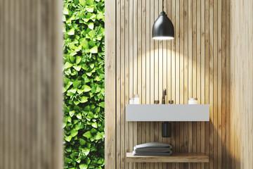 Eco bathroom with sink, wood