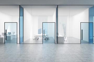 Blue transparent office hall, blue doors