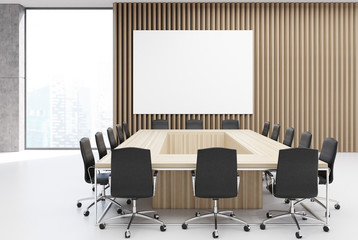 Rectangular meeting room, poster wood