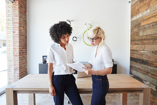 Portrait of millennial businesswomen in office looking at papers