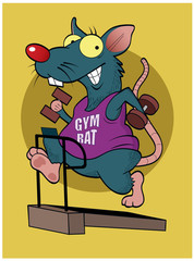 Gym Rat / A cartoon rat works out on the treadmill.