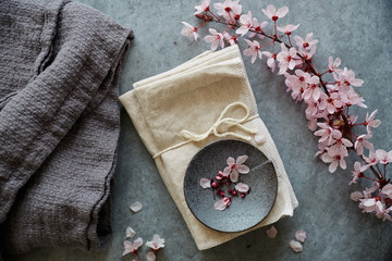 Cherry Blossom flowers and linen fabric