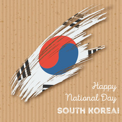 South Korea Independence Day Patriotic Design. Expressive Brush Stroke in National Flag Colors on kraft paper background. Happy Independence Day South Korea Vector Greeting Card.