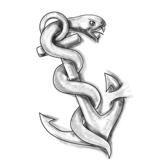 Asclepius Snake Curling Up on Anchor Tattoo