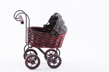 Vintage Baby Carriage isolated on white background