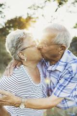 Elderly couple kissing in the sunshine