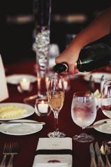 Champagne being poured at a wedding