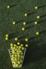 Golf balls in basket on golf course