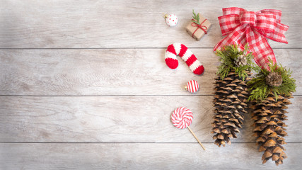 Festive Winter Holiday Decor with Copy Space