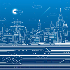 Infrastructure illustration, night city, airplane fly, train move, urban scene, white lines on blue background, vector design art