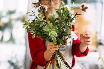 Florist Making a Flower Bouquet