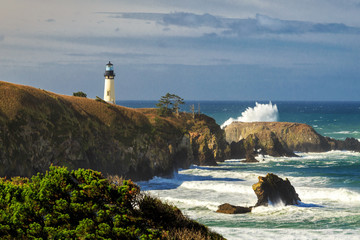 Breaking Waves At Yaquina Head Lighthouse