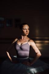 Beautiful ballerina posing in the studio