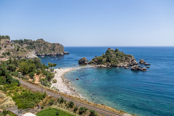 Aerial view of Isola Bella island and beach - Taormina, Sicily, Italy