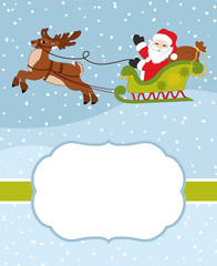 Vector Christmas and New Year Card Template with Santa Claus and Reindeer on Snow Background. Vector Christmas card.
