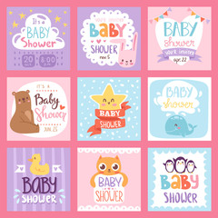 Baby shower invitation vector set card print design layout illustration