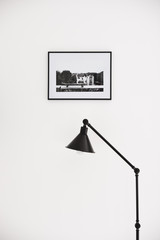 Dog print in the frame and industrial lamp on white
